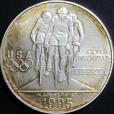 1995-D BU Olympic Cycling Commemorative Silver Dollar Coin & Mint Capsule Toned