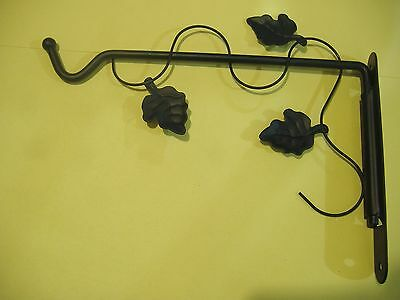 "9"" Black Wrought Iron Swivel Plant Bracket Hanger Hanging"