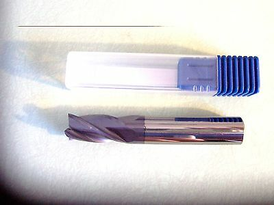 """BEST BUY- New 1/2"""" 4-Flute Solid Carbide End Mill, TiALN Coated, Center Cutting"""