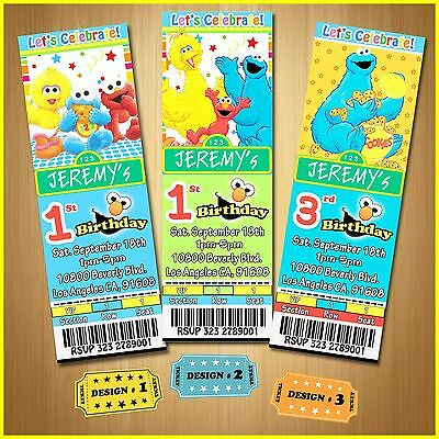 12 Printed Custom Elmo/Cookie Monster/Sesame Street Birthday Ticket Invitation