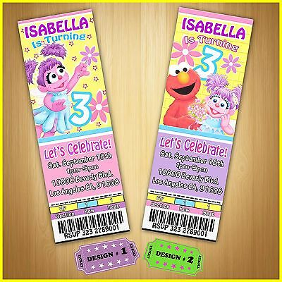 12 Printed Custom Abby/ Elmo/ Sesame Street Birthday Tickets Invitations /Girl