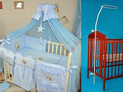 LUXURY BABY COT/COTBED CANOPY DRAPE - 320 x160cm in BLUE+CANOPY HOLDER / ROD