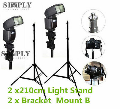2x 210cm Photography Photo Studio Lighting Light Stand Bracket Flash Mount B Kit