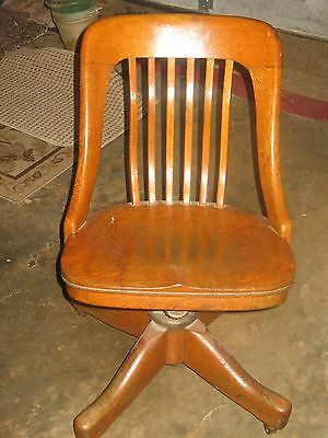 Antique Johnson Chair Co Rare Swivel Solid Wood Office Industrial Chair