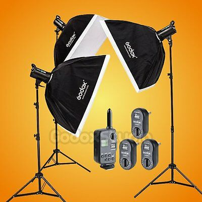 Godox DE300 X3 900W Studio Flash Strobe Light 60x90cm Softbox Kit w/ FT-16 220V