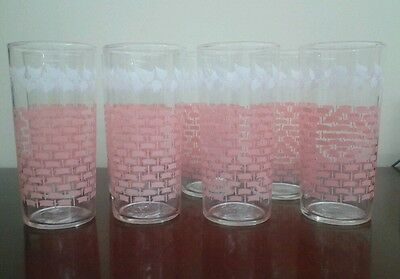 Federal Glass Tumblers, set of 8, Pink Basketweave w/ White Leaves