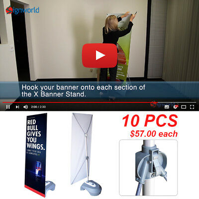 Outdoor Adjustable X Banner Stand w/ Water Base Trade Show Display Banner 10 PCS