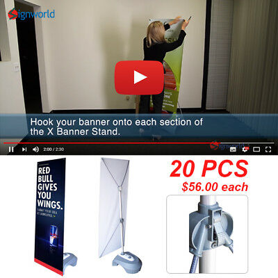 Outdoor Adjustable X Banner Stand w/ Water Base Trade Show Display Banner 20 PCS