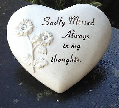 Memorial For Sadly Missed Heart Shaped Grave Ornament Funeral Tribute