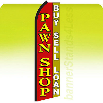 Feather Swooper Tall Banner Sign 11.5 ft Banner - PAWN SHOP BUY SELL LOAN rz