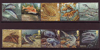 Great Britain 2014 Sustainable Fish Set Of 10 Unmounted Mint