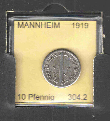 GERMAN Notgeld Coin MANNHEIM 10 Pfg 1919 Cat# 304.2 VF