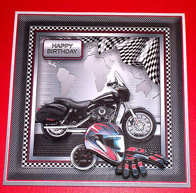 Handmade Greeting Card 3D All Occasion With A Harley Motorcycle