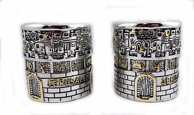 Jerusalem Candlesticks Silver Gold Plated candle holder Jewish Shabbat ISRAEL