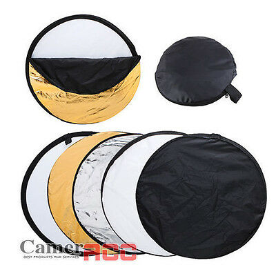 """110cm New 5in1 Collapsible Disc Photo Studio Light Multi Reflector Panel Bag 43"""""""