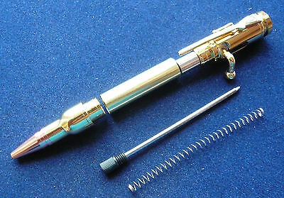 Woodturning Mini Bolt Action Pen Kit - Gold Plated / Copper Tip