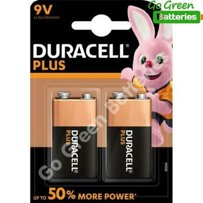 2 x Duracell 9V PP3 Plus Power Batteries, Smoke Alarms (LR22, MN1604, 6LR61)