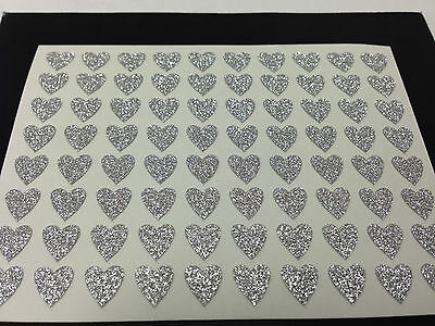 80 Sticky Adhesive Silver HEART Stickers - 7mm 4 Nail Art Wedding Cards Albums