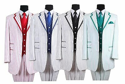 Men's High Fashion Suit 3 button Pin Striped with Solid Vest by Milano Moda#5908