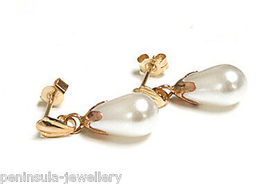 9ct Gold Pearl Teardrop earrings Gift Boxed Made in UK