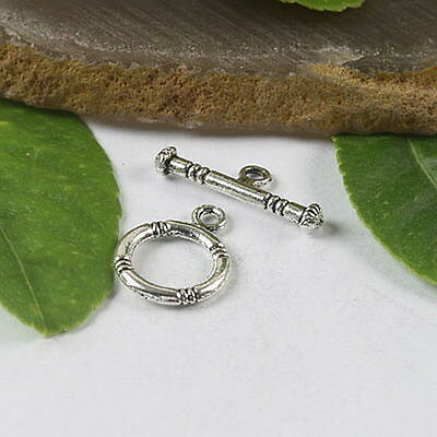 25sets tibetan silver round toggle clasps H0412