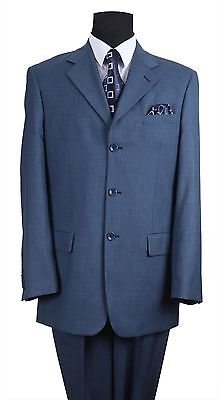 Men's Classic 3 button Suit Luxurious Wool Feel All year around wear by Milano