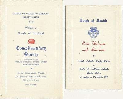 South of Scotland v Wales  (Schools Under 16) 23 Mar 1957 RUGBY DINNER MENU CARD