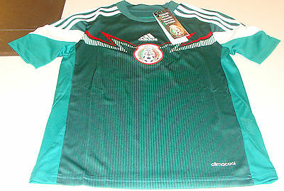 Team Mexico 2014 World Cup Soccer Home Jersey SS S Youth Green adidas Clima Cool