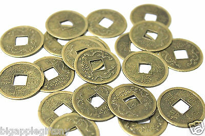 Lot of 50 x LUCKY DOUBLE DRAGON  FENG SHUI COIN for GOOD LUCK  PROTECTION 2.5CM