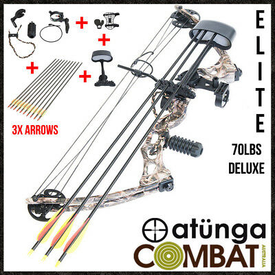 NEW Elite Camo 70lbs Compound Bow & Arrow Deluxe Pack Archery Hunting + EXTRA