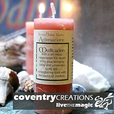 """4"""" Coventry Creations Tan MEDITATION Blessed Herbal PILLAR Spell CANDLE Wicca"""
