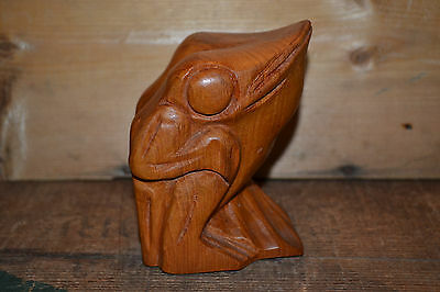 Beautiful Rich Design Handcrafted Carved  Wood Carving  FROG Toad  Bull Frog