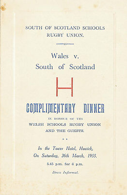 South of Scotland v Wales  26 Mar 1955 (Schools Under 16) RUGBY DINNER MENU CARD