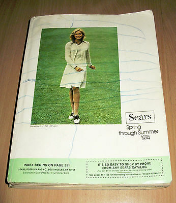 1974 Vintage Sears Catalog Catalogue Book Spring Summer 1427 Pages