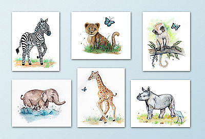 Baby Safari/Jungle Animal Art Prints. Elephant,Giraffe,Rhino,Zebra. Nursery art