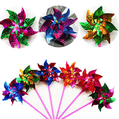 3~10X Colorful Holographic Garden Windmill Single Flower Window Home Decor Kids