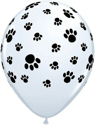 """Qualatex 11"""" White with Black Paw Print Latex Balloons - for Helium or Air"""