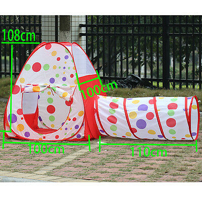 New Polka Dot Design Folding Kids Girls Play Pop Up Tent Play Toy House Tunnel
