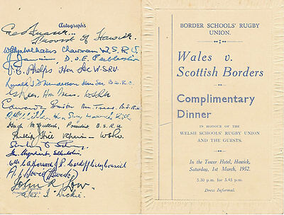 Scottish Borders v Wales 1952 (Schools Under 16) RUGBY DINNER MENU CARD SIGNED