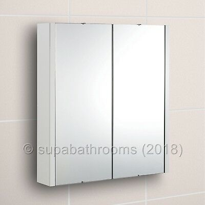 Lux 600 Mirror Bathroom Cabinet Gloss White 2 Door Minimalist Wall Hung