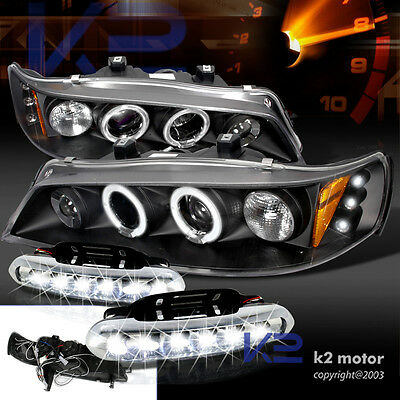 94-97 Accord 2/4dr Halo LED Projector Black Headlights+White LED DRL Fog Lamp