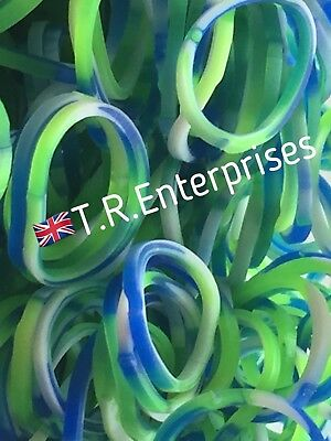 CAMOUFLAGE CAMO ARMY green/blue  300 LOOM BANDS / 12 S CLIPS  UK SELLER
