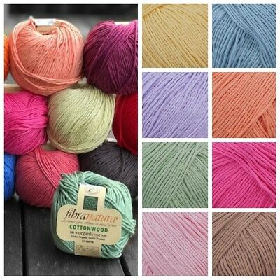 Fibra Natura Cottonwood 8Ply Organic Cotton Crochet - Knit - Yarn - 22 Colours