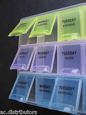 Weekly 7 Day Pill Medicine Tablets Medication Storage Pill Box Case