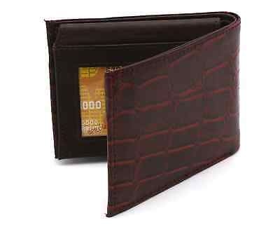 Bifold Genuine Cow Soft Leather Crocodile Skin Design Red Compact Wallet