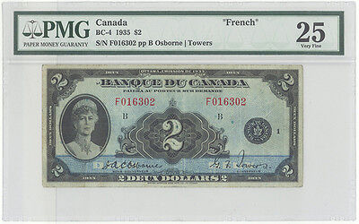 Bank of Canada BC-4 1935 $2 FRENCH TEXT PMG 25 Very Fine - Rare