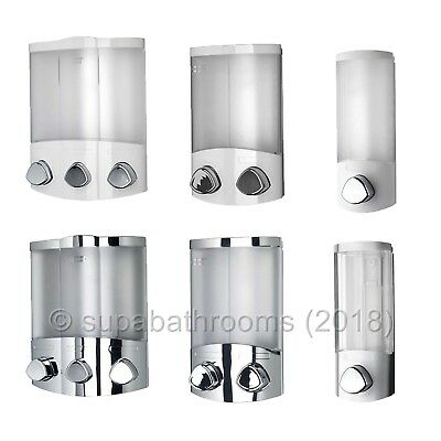 Croydex Soap Dispensers Chrome White Bathroom Cloakroom Shower Wall Mount