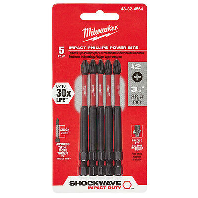 Milwaukee 48-32-4564 #2 Phillips Shockwave 3-1/2 in. Power Bit (5 pack)
