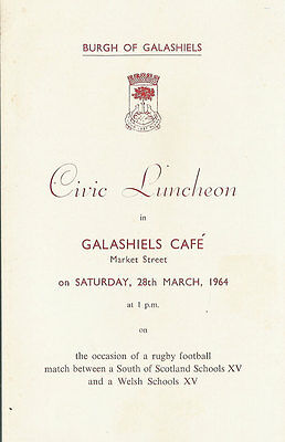 South of Scotland v Wales 28 Mar 1964 (Schools Under 16) RUGBY DINNER MENU CARD