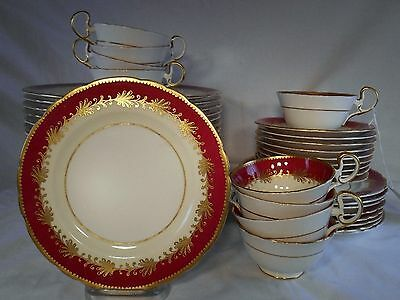AYNSLEY china JOHN RUTLAND burgundy 8013 45-pc Service for 9 including soup